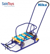 Детские санки Nika Тимка 5 универсал с большими колёсами Синие