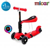 Детский трёхколёсный самокат-беговел Scooter 3 в 1 Micar с сиденьем и светящимися колёсами Red (Красный)