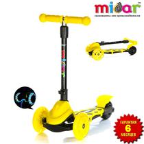 Детский трёхколёсный самокат Scooter Mini Micar Zumba Жёлтый складной со светящимися колёсами