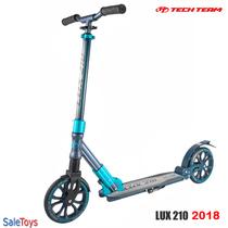 Двухколёсный самокат Tech Team LUX 210 2018 Чёрно-голубой с двумя амортизаторами