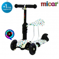 Детский трёхколёсный самокат-беговел Scooter 3 в 1 Micar с сиденьем и светящимися колёсами pixel