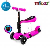 Самокат-беговел Scooter 3 в 1 Micar с сиденьем и светящимися колёсами Pink (розовый)