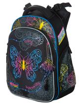 Школьный рюкзак для девочки с ортопедической спинкой Hummingbird модель Teens T91 Neon Butterfly