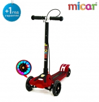 Трёхколёсный самокат для детей Scooter Maxi Micar Transformer RO208 со складной ручкой, светящимися колёсами и ручным тормозом Красный