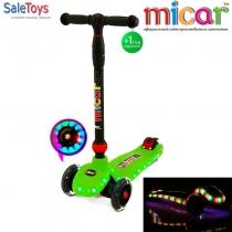 Трёхколёсный самокат для детей Scooter Maxi Micar UFO со светящимися колёсами и платформой Зелёный