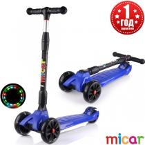 Трёхколёсный самокат для детей Scooter Maxi Micar Ultra co светящимися колёсами Синий