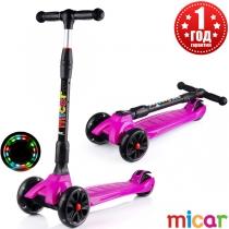 Детский трёхколёсный самокат Scooter Maxi Micar Ultra со светящимися колёсами Фуксия