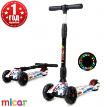 Детский трёхколёсный самокат Scooter Maxi Micar Ultra складной со светящимися колёсами Graffiti