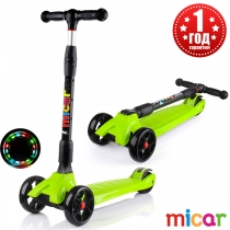Трёхколёсный самокат для детей Scooter Maxi Micar Ultra co светящимися колёсами Зелёный