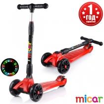 Детский трёхколёсный самокат Scooter Maxi Micar Ultra со светящимися колёсами Красный