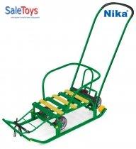 Детские санки Nika Тимка 5 универсал с большими колёсами Зелёные
