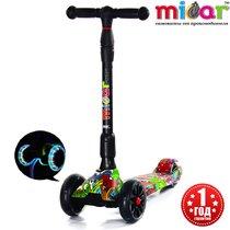 Трёхколёсный самокат для детей Scooter Maxi Micar Ultra складной со светящимися колёсами Hip-hop