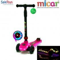 Детский трёхколёсный самокат Scooter Maxi Micar UFO со светящимися колёсами и платформой Розовый