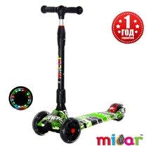 Детский трёхколёсный самокат Scooter Maxi Micar Ultra складной со светящимися колёсами Comics