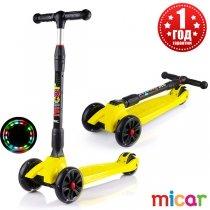 Детский трёхколёсный самокат Scooter Maxi Micar Ultra со светящимися колёсами Жёлтый