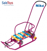 Детские санки Nika Тимка 5 универсал с большими колёсами Фуксия