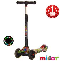 Детский трёхколёсный самокат Scooter Maxi Micar Ultra складной со светящимися колёсами Monsters