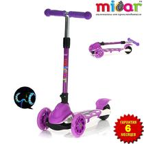 Детский трёхколёсный самокат Scooter Mini Micar Zumba Фиолетовый складной со светящимися колёсами
