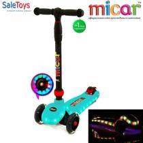 Светящийся трёхколёсный самокат для детей Scooter Maxi Micar UFO Голубой