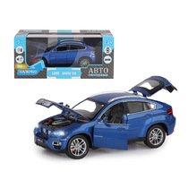 """Модель машины """"Автопанорама"""" 1:24 BMW X6, синий (свет, звук)"""
