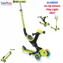 Детский трёхколёсный самокат-трансформер 3 в 1 с сиденьем и родительской ручкой Globber Go Up Deluxe Play Lights Зеленый