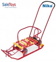 Детские санки Nika Тимка 5 универсал с большими колёсами Красные