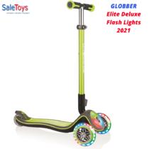 Детский трёхколёсный самокат Globber Elite Deluxe Flash Lights Зеленый