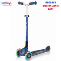 Детский трёхколёсный самокат Globber Master Lights Синий