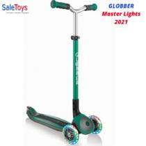 Детский трёхколёсный самокат Globber Master Lights Зеленый