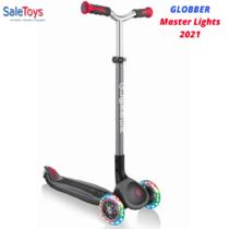 Детский трёхколёсный самокат Globber Master Lights Черный