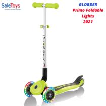 Детский трёхколёсный самокат Globber Primo Foldable Lights Зеленый