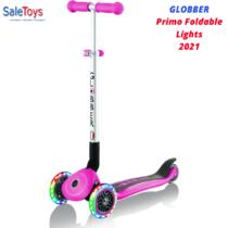 Детский трёхколёсный самокат Globber Primo Foldable Lights Розовый