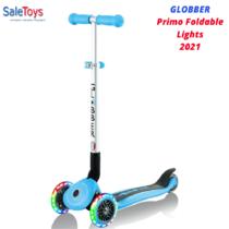 Детский трёхколёсный самокат Globber Primo Foldable Lights Голубой