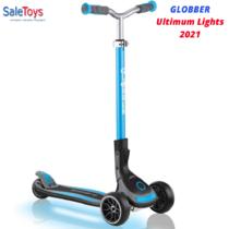 Детский трёхколёсный самокат Globber Ultimum Lights Голубой