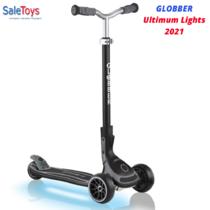 Детский трёхколёсный самокат Globber Ultimum Lights Черный