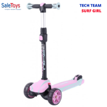 Детский трёхколёсный самокат TECH TEAM Surf Girl 2021 складной со светящимися колёсами Розовый