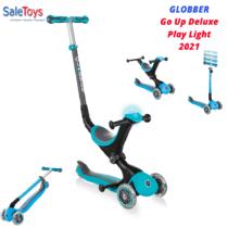 Детский трёхколёсный самокат-трансформер 3 в 1 с сиденьем и родительской ручкой Globber Go Up Deluxe Play Lights Бирюзовый