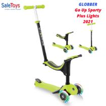 Детский трёхколёсный самокат-трансформер 3 в 1 с сиденьем и родительской ручкой Globber Go Up Sporty Plus Lights Зеленый