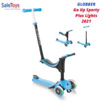 Детский трёхколёсный самокат-трансформер 3 в 1 с сиденьем и родительской ручкой Globber Go Up Sporty Plus Lights Голубой