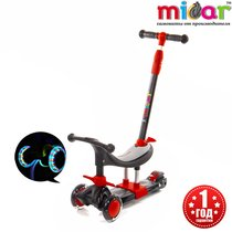 Детский трёхколёсный самокат-беговел 3 в 1 с сиденьем и родительской ручкой Scooter Micar Dino Чёрно-красный
