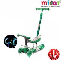 Детский трёхколёсный самокат-беговел 3 в 1 с сиденьем и родительской ручкой Scooter Micar Dino Зеленый