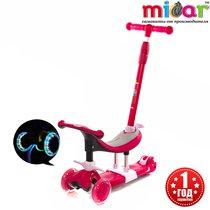 Трёхколёсный самокат для детей от года Scooter Micar Dino 3 в 1 с сиденьем и ручкой Розовый