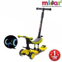 Трёхколёсный самокат Scooter Micar 3 в 1 Dino для детей от года с сиденьем и ручкой Жёлтый