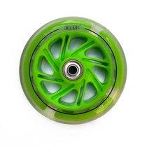 Колесо светящееся для самоката 125 мм с подшипниками ABEC 9 зеленое