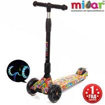 Детский трёхколёсный самокат Scooter Maxi Micar Ultra Candy складной со светящимися колёсами