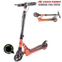 Двухколёсный самокат Tech Team TT Corsa 2019 145 мм Оранжевый с ручным тормозом, передним амортизатором и светящимися колёсами