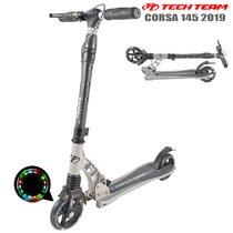 Двухколёсный самокат Tech Team TT Corsa 2019 145 мм Серый с ручным тормозом, передним амортизатором и светящимися колёсами